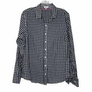 Crown & Ivy Gingham LS Blouse Size 1X